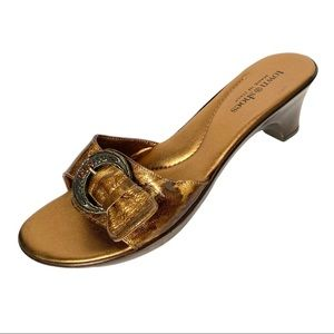 Town Shoes Metallic Slides Jeweled Buckle 40 (US 9